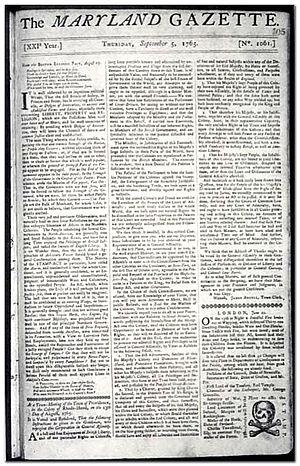 Maryland Gazette - Maryland Gazette September 5, 1765. A skull and crossbones was displayed where the stamp should have been affixed.