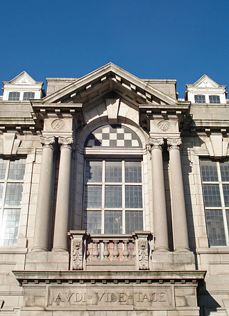 Pediment - Open pediment, Masonic Temple, Aberdeen, Scotland 1910.