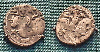 Ghaznavids - Coinage of Mas'ud I of Ghazni, derived from Shahi designs, with the name of Mas'ud in Arabic.