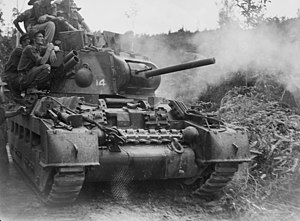A 2/9th Armoured Regiment Matilda II firing its three inch howitzer at Japanese positions during the Battle of Tarakan