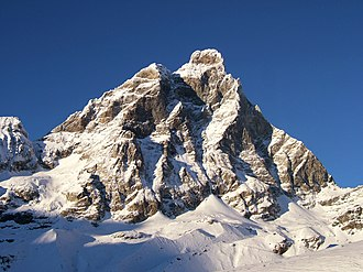 First ascent of the Matterhorn - The south face. The first attempts took place on the Lion ridge (left)