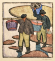 Maud Hunt Squire, Clam Diggers, woodcut print, 1917.tif