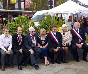 Denton, Greater Manchester - Chairman George Newton, Mayor of Kierspe, Mayoral Consort and Civic Mayor of Tameside Cllr Brenda Warrington, Mayor and Mayoress of Montigny and Deputy Mayor of Montigny on Denton Town Twinning Day, 22 September 2012