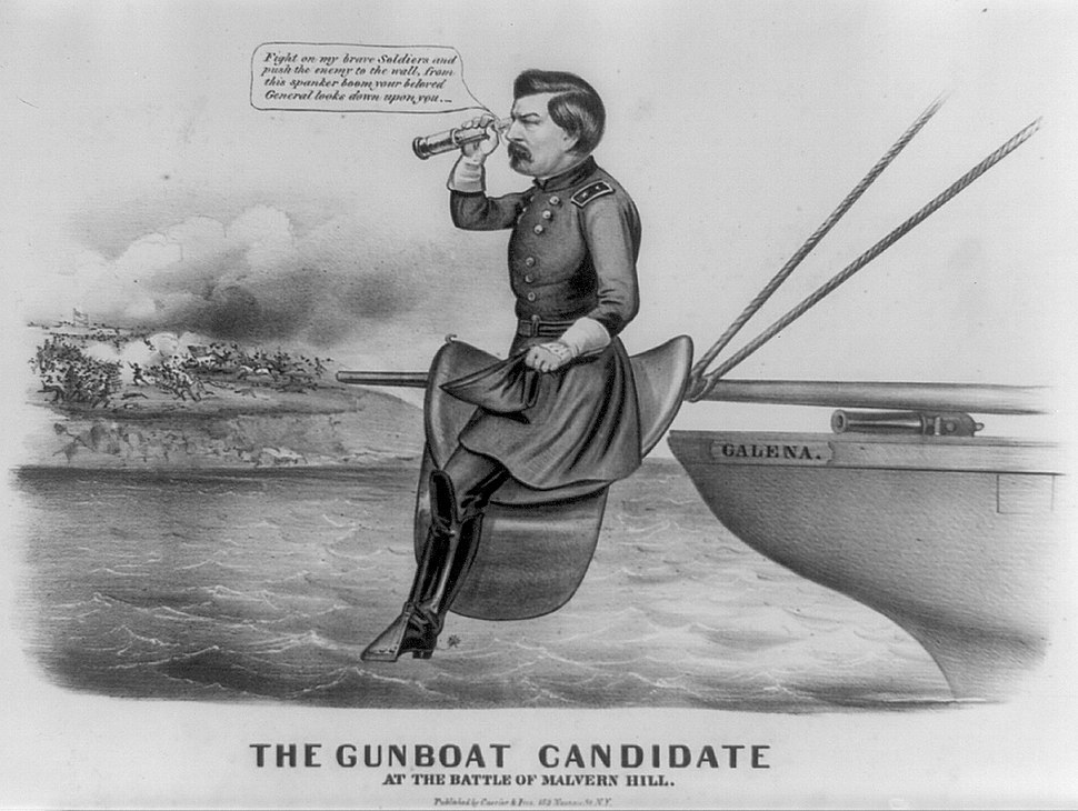 McClellan Gunboat Candidate Cartoon