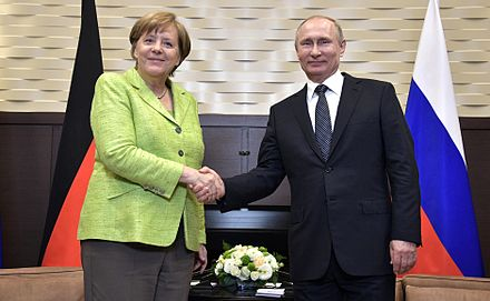 Merkel with Russian President Vladimir Putin in Sochi, Russia, May 2017 Meeting with Federal Chancellor of Germany Angela Merkel1.jpg