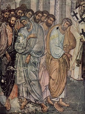 Sopoćani - Detail of the fresco Dormition of the Mother of God from Sopoćani c. 1265 (See also:Palaiologian Renaissance)