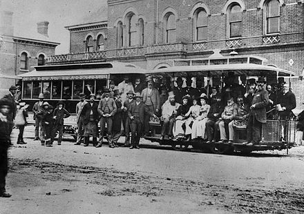 The first cable car service in Melbourne, 1885. From its founding to 1940, Melbourne operated one of the largest cable car networks in the world. Melbourne's first cable tram.jpg