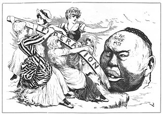 The White Australia policy arose from the growth of anti non-white immigration sentiments of the 19th century. Pictured: The Melbourne Punch (c.May 1888) Melbourne-Punch-federation-Victoria-pest-Australian-Chinese-May-1888.jpg