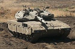 An Israeli Merkava main battle tank.