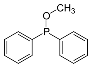 Phosphinite - Skeletal formula of methyl diphenylphosphinite.