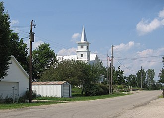 Metz, Indiana - Metz, looking north from the main intersection toward the Metz Christian Church.