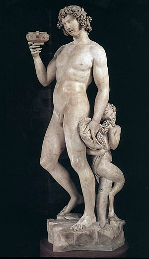 Entheogen -  Dionysos, or Bacchus, was known as the god of wine and ritual madness in Greek mythology (''Bacchus'' by Michelangelo 1497).