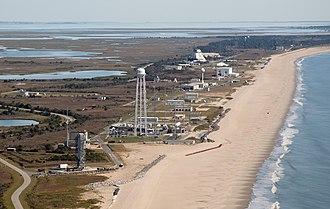 Mid-Atlantic Regional Spaceport - The Mid-Atlantic Regional Spaceport and, in the background, NASA's Wallops Flight Facility as seen in September 2012.