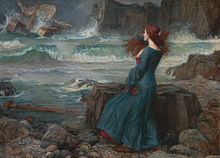 Painting showing Miranda observing the wreck of the King's ship.