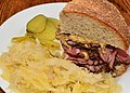 Mmm... Pastrami on deli rye with sauerkraut (6199321124).jpg
