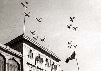 Egyptian Air Force - Egyptian airplanes flying over Koubbeh Palace in celebration of King Farouk I and Queen Farida's wedding.