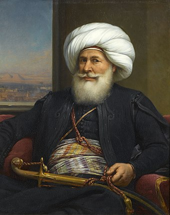 Portrait of Muhammad Ali Pasha (by Auguste Couder, 1841, Palace of Versailles), whose expedition to the Peloponnese precipitated European intervention in the Greek conflict. ModernEgypt, Muhammad Ali by Auguste Couder, BAP 17996.jpg