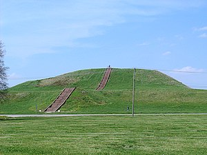 Step pyramid - Monk's Mound in summer. The concrete staircase follows the approximate course of the ancient wooden stairs.