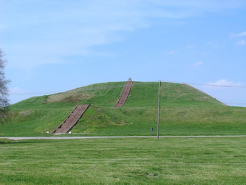 Image depicting Monks Mound, which is part of the Cahokia Mounds complex in Illinois