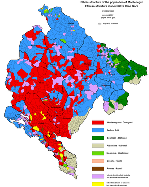 Ethnic map of the Republic of Montenegro accor...
