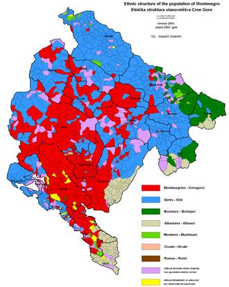 Demographics of Montenegro - Ethnic structure of Montenegro by settlements 2003.