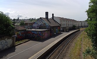 Montpelier railway station - The mural on the station building was repainted in 2007.
