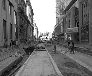 Mosley Street - Manchester Metrolink construction on Mosley Street in 1991