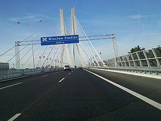A8 autostrada (Poland) - Image: Most Redzinski zza kierownicy