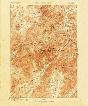 United States Geological Survey - 1892 15-minute map (or topographic sheet) of the Mount Marcy area of the Adirondacks in New York State from the first decades of the USGS