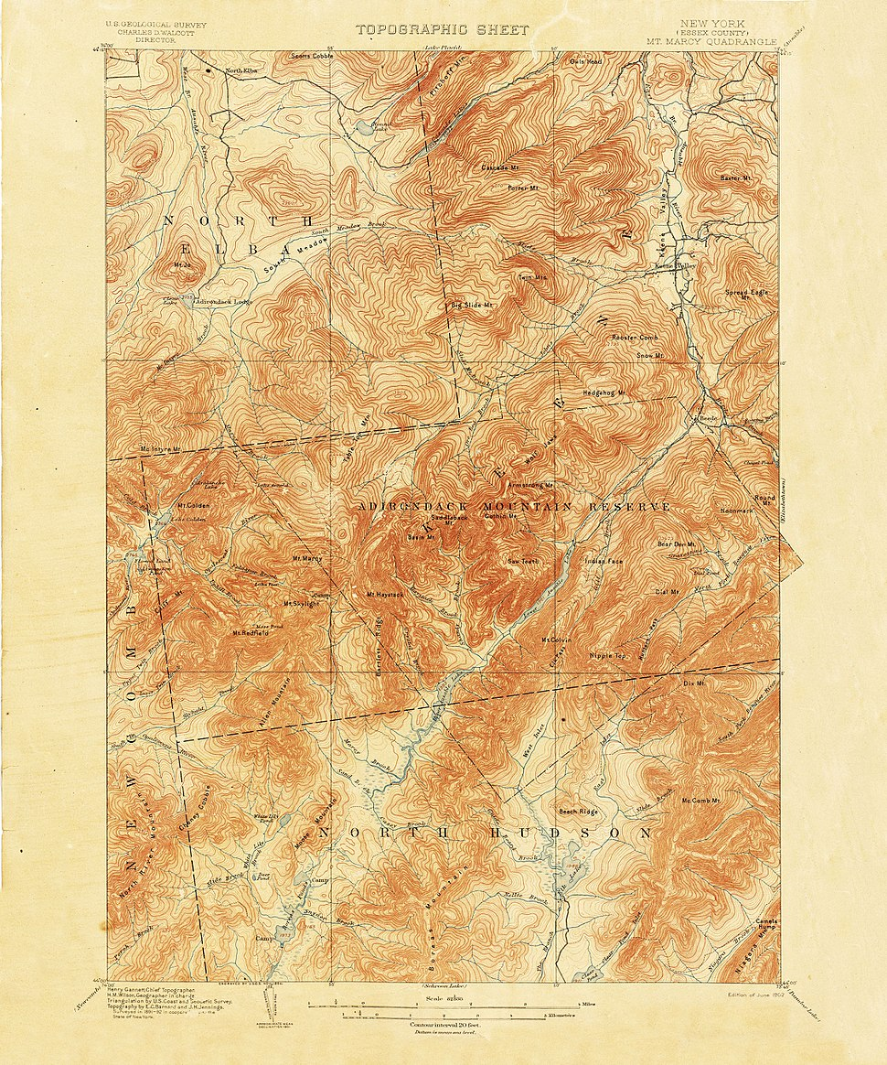 Mount Marcy New York USGS topo map 1892
