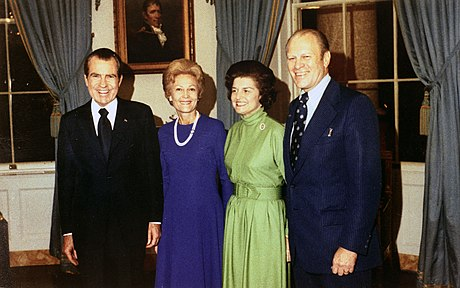 (Left to right) President Richard Nixon, First Lady Pat Nixon, Betty Ford and Congressman Gerald Ford after President Nixon nominated Congressman Ford to be vice president, October 13, 1973 Mr. and Mrs. Ford and Nixon 13 Oct 1973.jpg