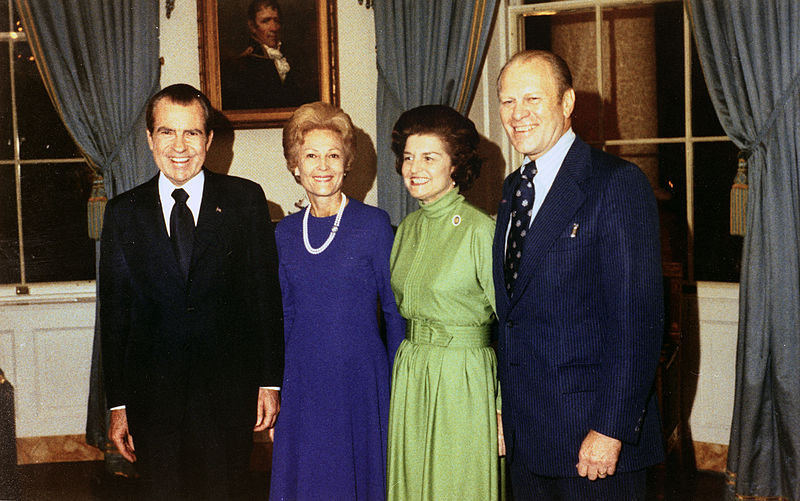 Mr. and Mrs. Ford and Nixon 13 Oct 1973.jpg