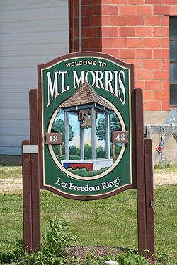 Sign leading on Rt. 64 leading into Mount Morris