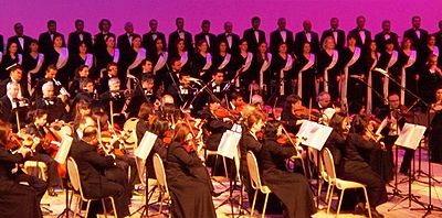 Performance of the Azerbaijan State Choir Capella accompanied by the Azerbaijan State Symphony Orchestra at International World of Mugam Festival.