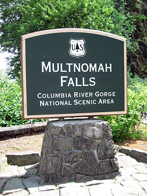 Sign for Multnomah Falls, Columbia River Gorge...