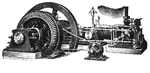 Excitation (magnetic) - A 100 kVA direct-driven power station AC alternator with a separate belt-driven exciter generator, date c. 1917.