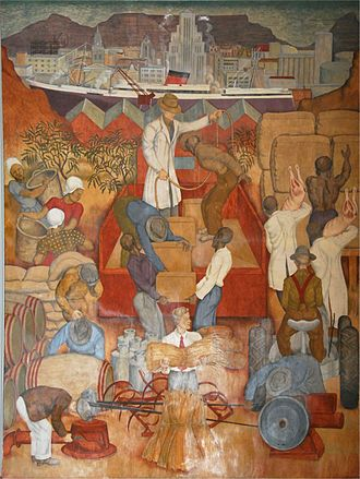 Economy of the Western Cape - A panel from the frescoes in the Assembly Room, Mutual Building in Cape Town, painted by Le Roux Smith in 1942. The fresco illustrates the importance of agriculture and shipping to the economy of the Western Cape in the early half of the 20th century.