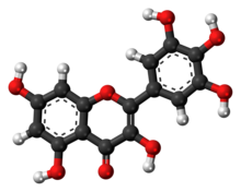 Ball-and-stick model of the myricetin molecule