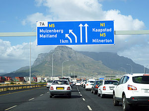 N1 road (South Africa) - N1 freeway as it enters Cape Town