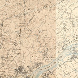 Northeast Philadelphia - The Northeast in 1900, showing the region still to be a collection of towns and farms. Click for larger image.