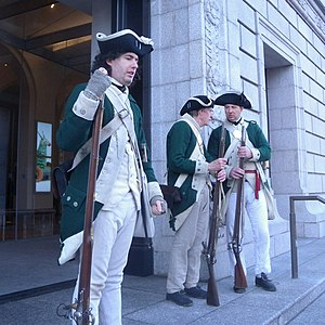 New Jersey Volunteers - British Loyalist, New Jersey Volunteers reenactors, in front of the New York Historical Society, in New York City