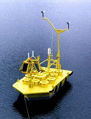 Navy oceanographic meteorological automatic device - A 6-meter NOMAD anchored at sea.