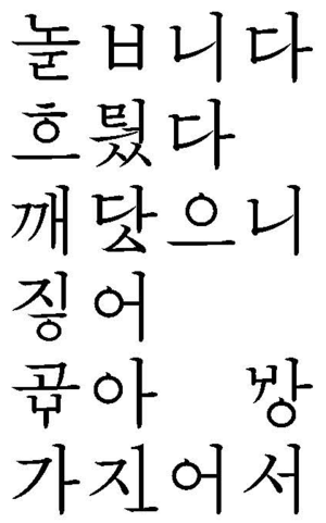 New Korean Orthography - Seven words written in New Orthography. The standard spellings are 놉니다, 흘렀다, 깨달으니, 지어, 고와, 왕, and 가져서.