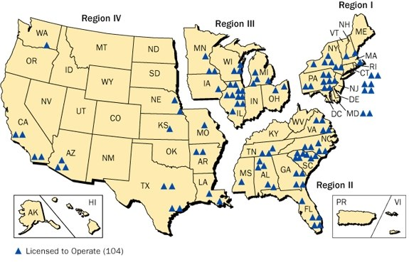 NRC regions and plant locations 2008