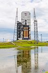 NROL-37 DeltaIV Heavy on the pad at T minus 1 day (27475014461).jpg