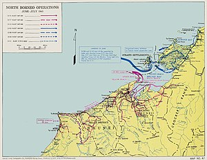 Battle of North Borneo - A map showing the movements of the main Australian infantry units in North Borneo