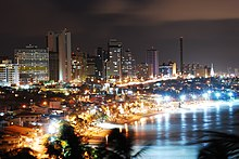 Natal pictured at night, by a body of water