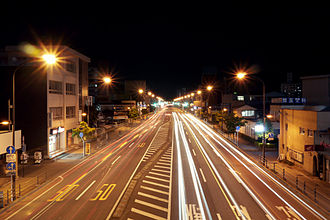 Fukushima (city) - Route 4 at night in Fukushima