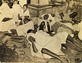 Natives sleeping huddled together in a slim area in Calcutta in 1945.jpg