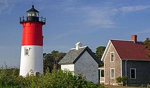 Eastham, Massachusetts - Nauset Light, oil house and lightkeeper's home on the Cape Cod National Seashore